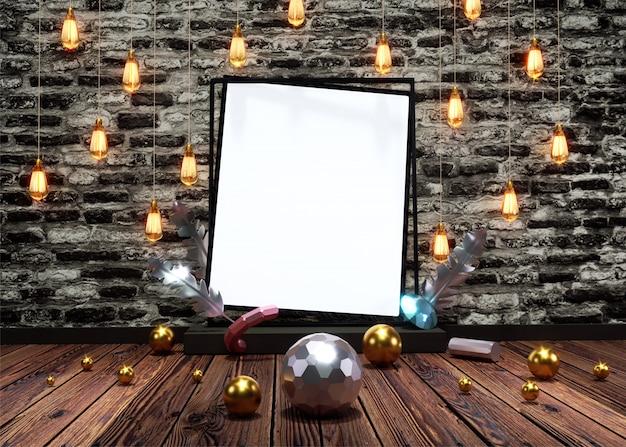 Vista dianteira, de, lâmpadas iluminadas, penduradas, decorado, grunge, tijolo