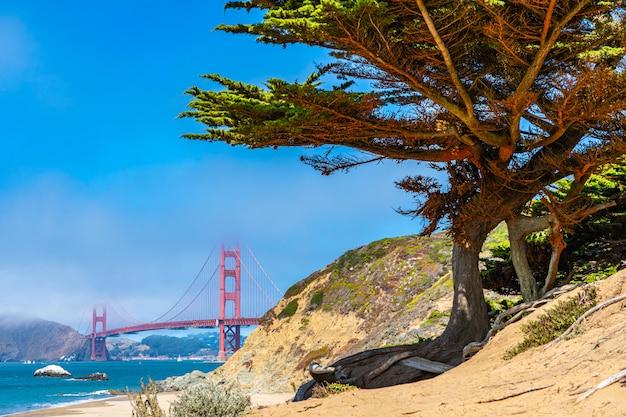 Vista diferente da icônica ponte golden gate.