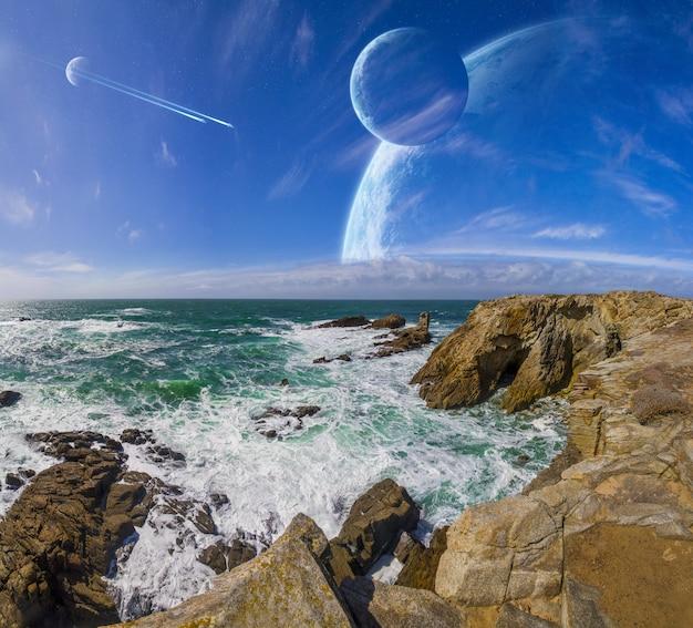 Vista, distante, planeta, sistema, penhascos