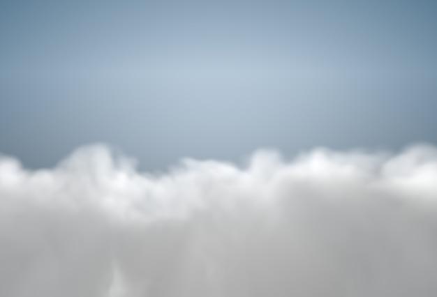 Vista do avião no céu azul coberto por nuvens fofas
