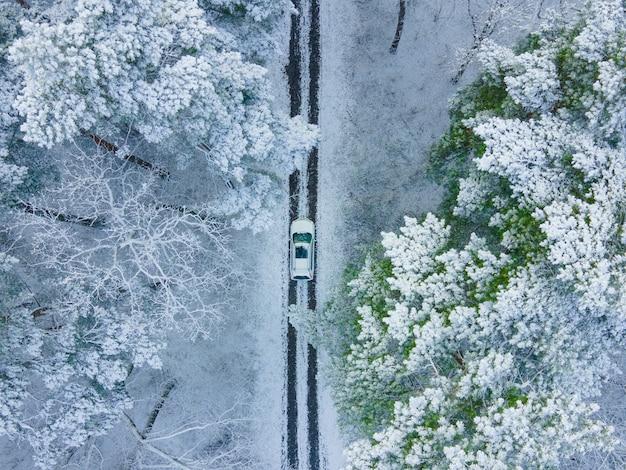 Vista do carro branco de cima no espaço da cópia da floresta congelada de inverno