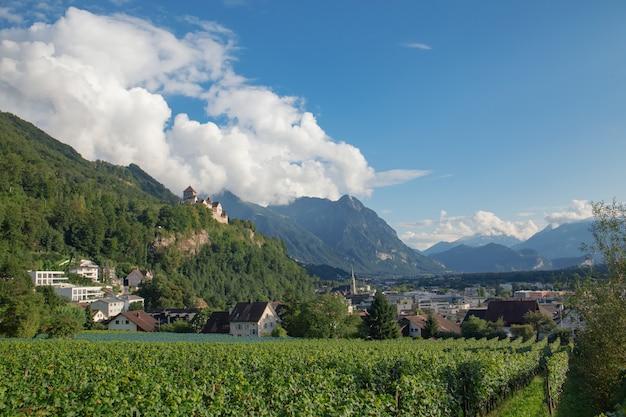 Vista do castelo e paisagem da cidade de vaduz, capital do liechtenstein.