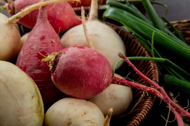 Vista do close-up da cesta cheia de rabanete vermelho e branco com cebolinha