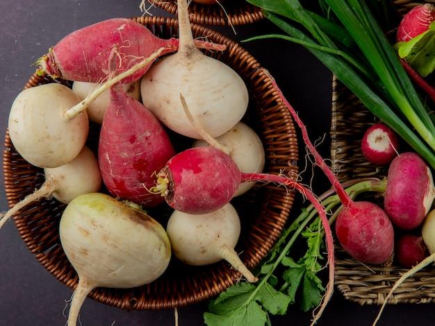 Vista do close-up da cesta e prato cheio de legumes como rabanete e cebolinha no fundo marrom