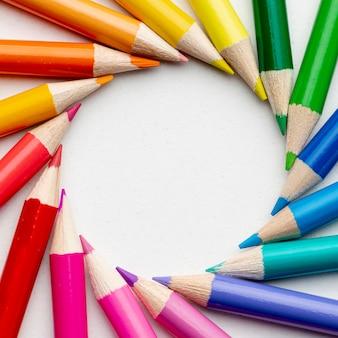 Vista do close-up de lápis coloridos