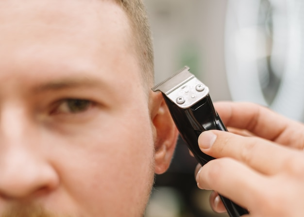 Vista do close-up do conceito de barbearia