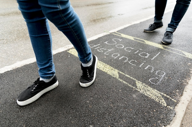 Vista do close-up do conceito de distanciamento social