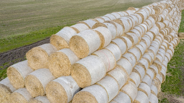 Vista do drone para um grande armazém de fardos de palha no campo. preparado para agricultura e criação de animais.