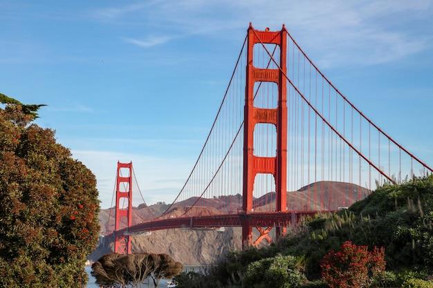 Vista do famoso marco da ponte golden gate.