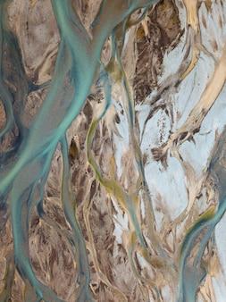 Vista do fluxo do rio glacial islandês