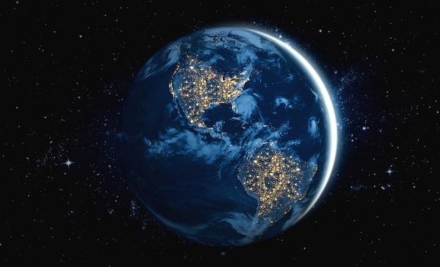 Vista do globo do planeta terra vista do espaço, mostrando a superfície da terra e o mapa do mundo realistas