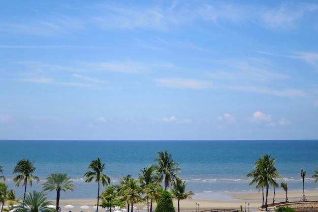 Vista do mar com as árvores de coco, o céu azul e as nuvens brancas nas horas de verão.