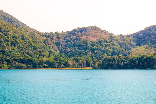 Vista do mar para as montanhas com a selva na ilha