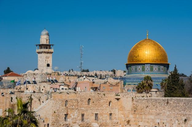 Vista do muro das lamentações em jerusalém.