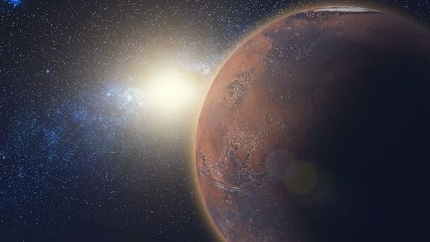 Vista do nascer do sol em marte em raios de sol do espaço. plano aproximado do planeta vermelho gira, girando em seu eixo no universo preto de estrelas. animação 3d de alto detalhe. elementos desta imagem fornecidos pela nasa