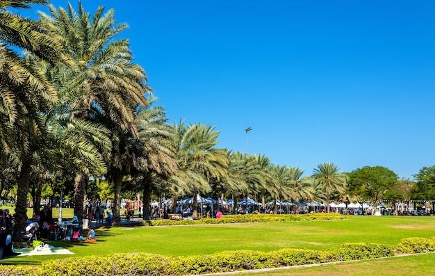 Vista do parque zabeel em dubai, emirados árabes