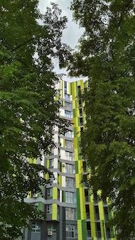 Vista do prédio através da folhagem das árvores