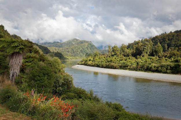 Vista do rio meandering buller na nova zelândia