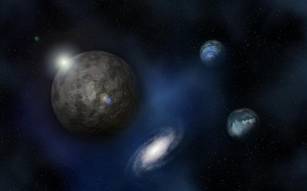 Vista do universo com planetas