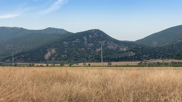 Vista do vale com vinhedos e montanhas no outono, um campo de grama seca e amarela