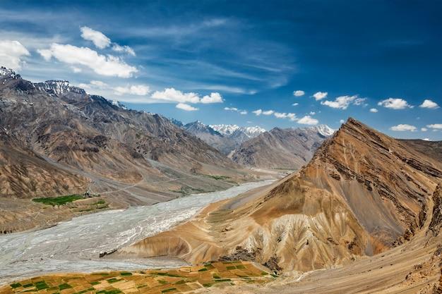 Vista do vale de spiti no himalaia