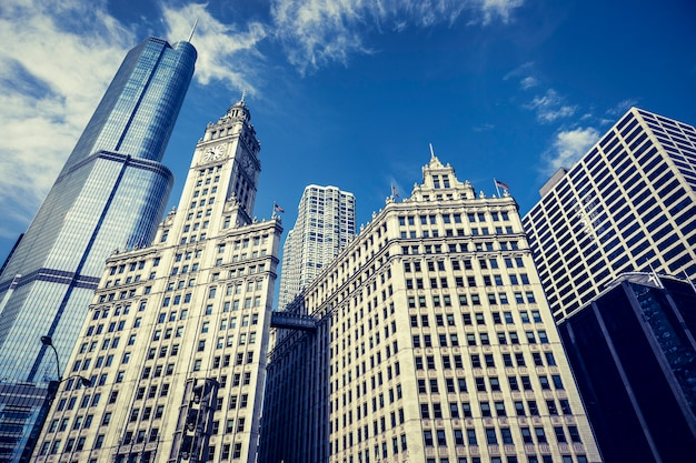 Vista dos edifícios de chicago, eua