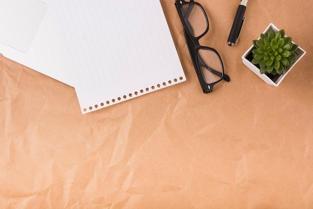 Vista elevada da página única; óculos; caneta e planta em vaso no fundo de papel pardo