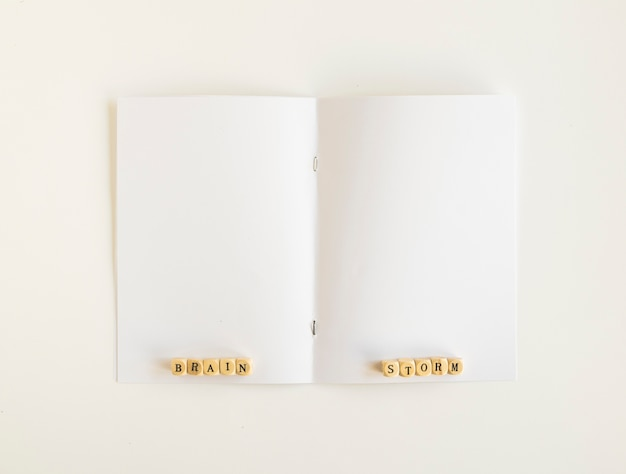 Vista elevada, de, brainstorm, blocos, ligado, página aberta
