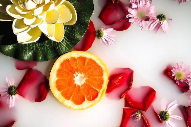 Vista elevada de grapefruit, flores e pétalas na água branca clara