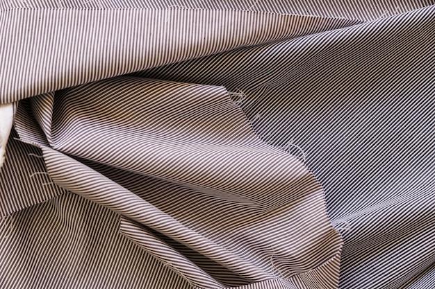 Vista elevada, de, listrado, pano algodão