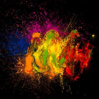 Vista elevada, de, multicoloured, holi, cores