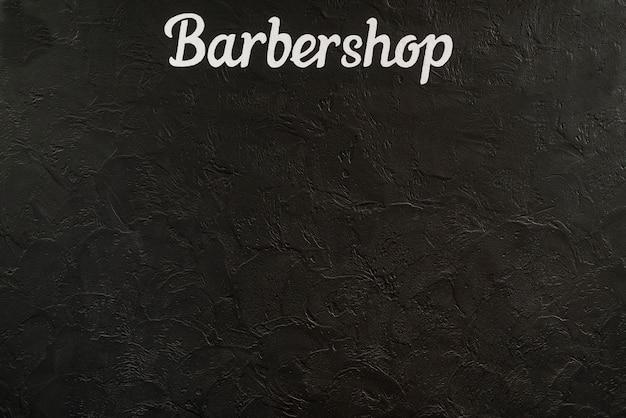 Vista elevada, de, um, barbearia, palavra, ligado, experiência preta