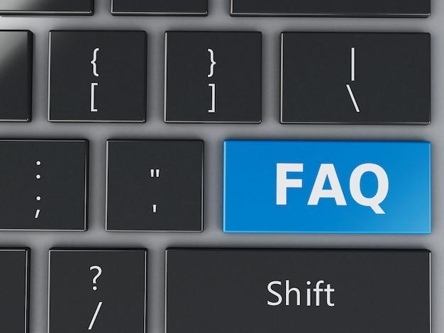 Vista em 3d close-up do botão de teclado faq