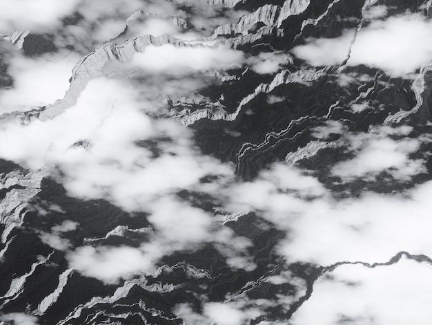 Vista em montanhas de alta altitude acima do plano de fundo do design de renderização em 3d