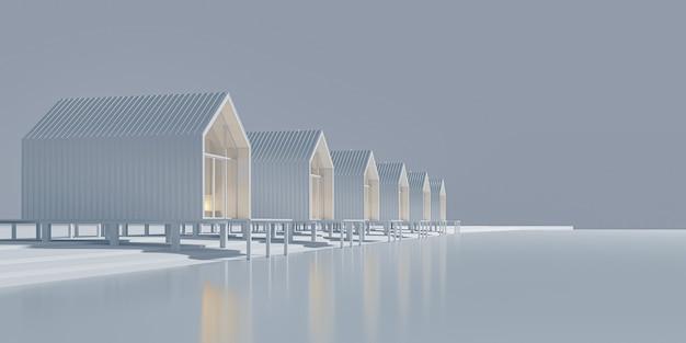 Vista em perspectiva de várias casas de estilo barnhouse rural alinhadas à beira do lago. arte conceitual em tons de cinza, com espaço de cópia. ilustração 3d