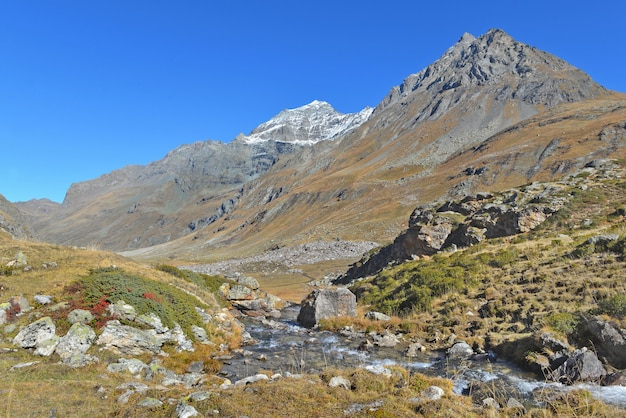Vista em um rio em um vale no parque nacional alpino na frança com fundo do pico da montanha sob o céu azul