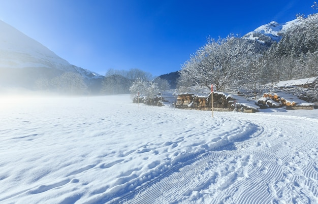 Vista enevoada do inverno montanha país com estoque de lenha.