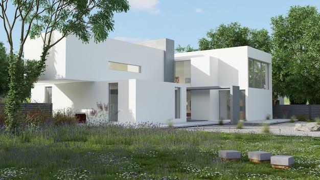 Vista externa de uma casa contemporânea com piscina à luz do dia