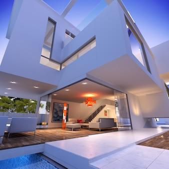 Vista externa de uma casa contemporânea com piscina ao entardecer