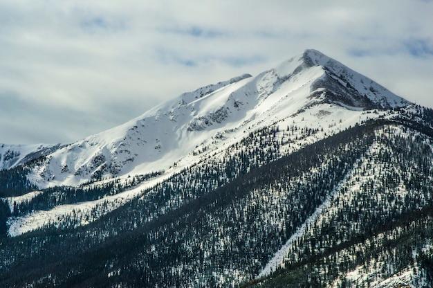 Vista fascinante das montanhas sob o céu azul coberto de neve