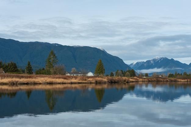 Vista fascinante do reflexo das montanhas e do céu na água