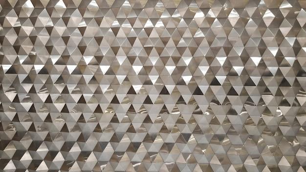 Vista foto abstrata close-up da moderna fachada de alumínio ventilada de triângulos