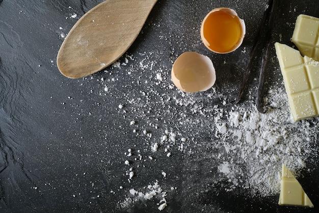 Vista, fresco, assando, ingredientes, ardósia