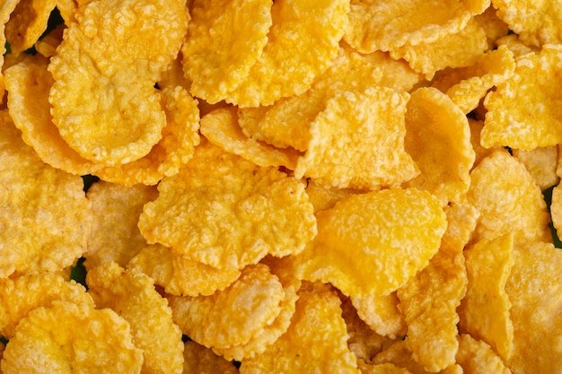 Vista frontal, amarela, cornflakes, doce mel, batatas fritas, isolado, cereais, saúde, café manhã