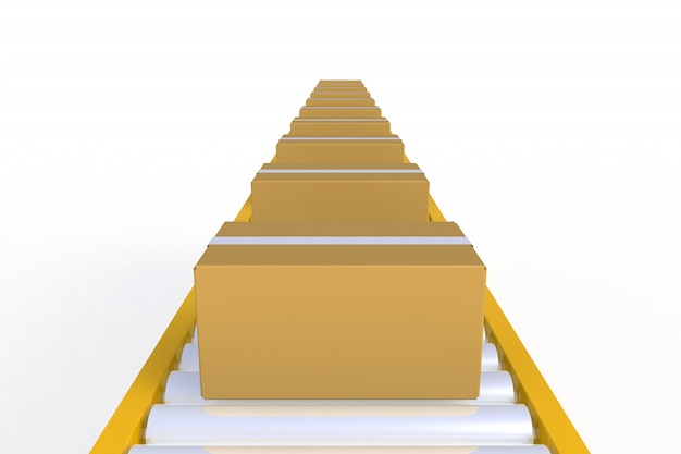 Vista frontal caixa de papelão vazia na linha amarela do transporte isolada em um fundo branco