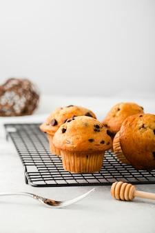 Vista frontal conjunto de muffins de chocolate