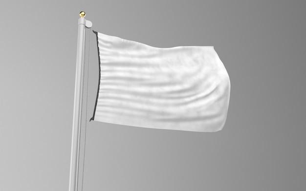 Vista frontal da bandeira têxtil em branco
