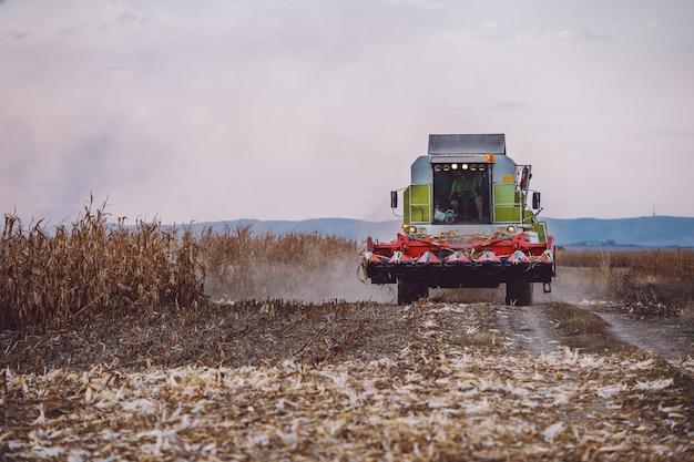 Vista frontal da colheitadeira no campo de milho avançando. conceito de agricultura. tempo de outono.