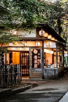 Vista frontal da estrutura japonesa com lanternas e natureza