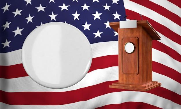 Vista frontal da insígnia em branco com a bandeira americana e o pódio para as eleições americanas